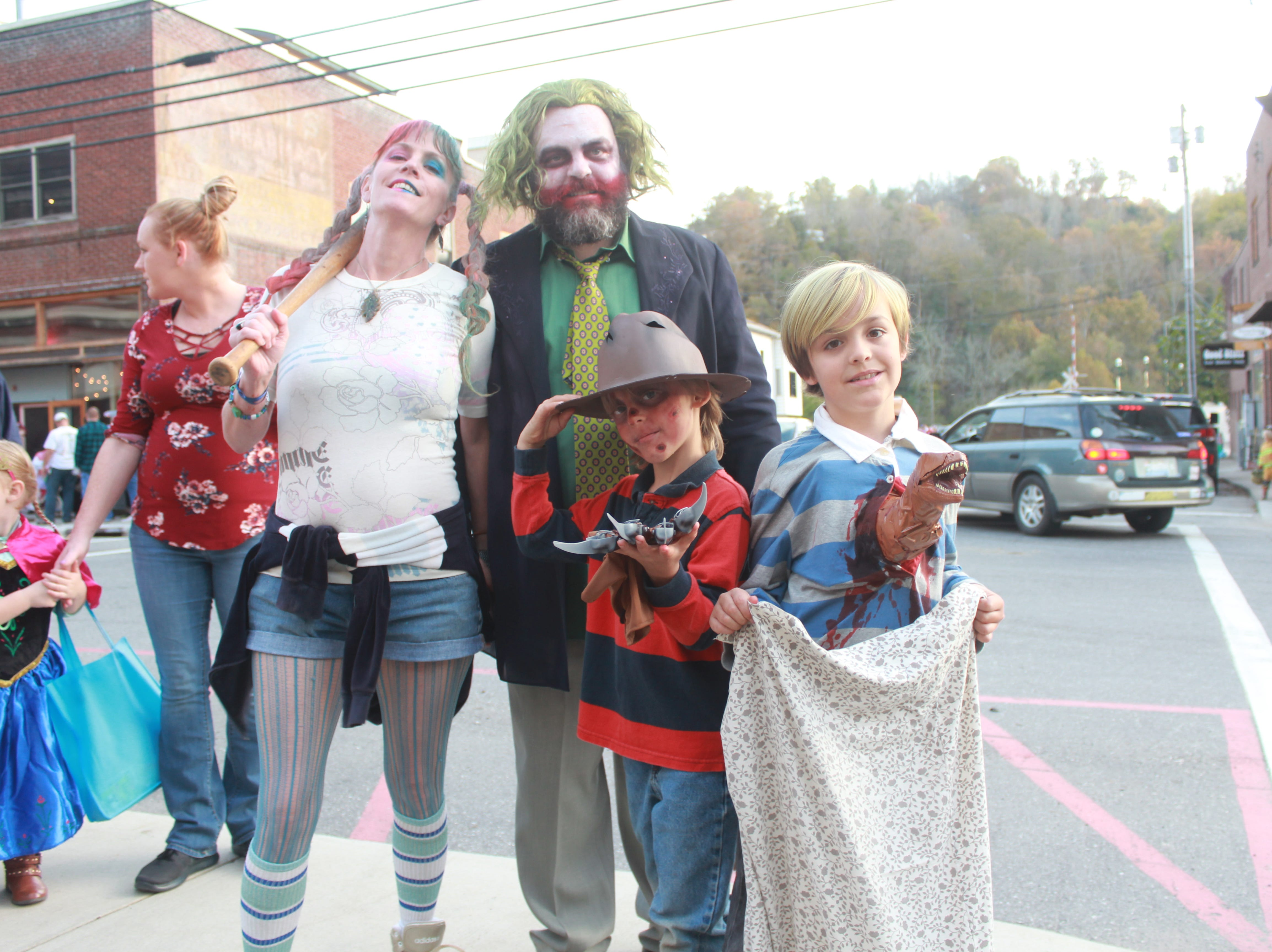 The Wall family - Liesel, Ja, Jericho and Conrad - sported creative costumes for downtown Mrashall halloween festivities.