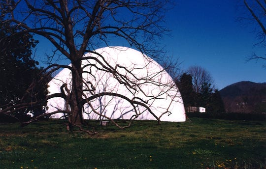 A bubble enclosed the historic home during renovations in the 1990s.