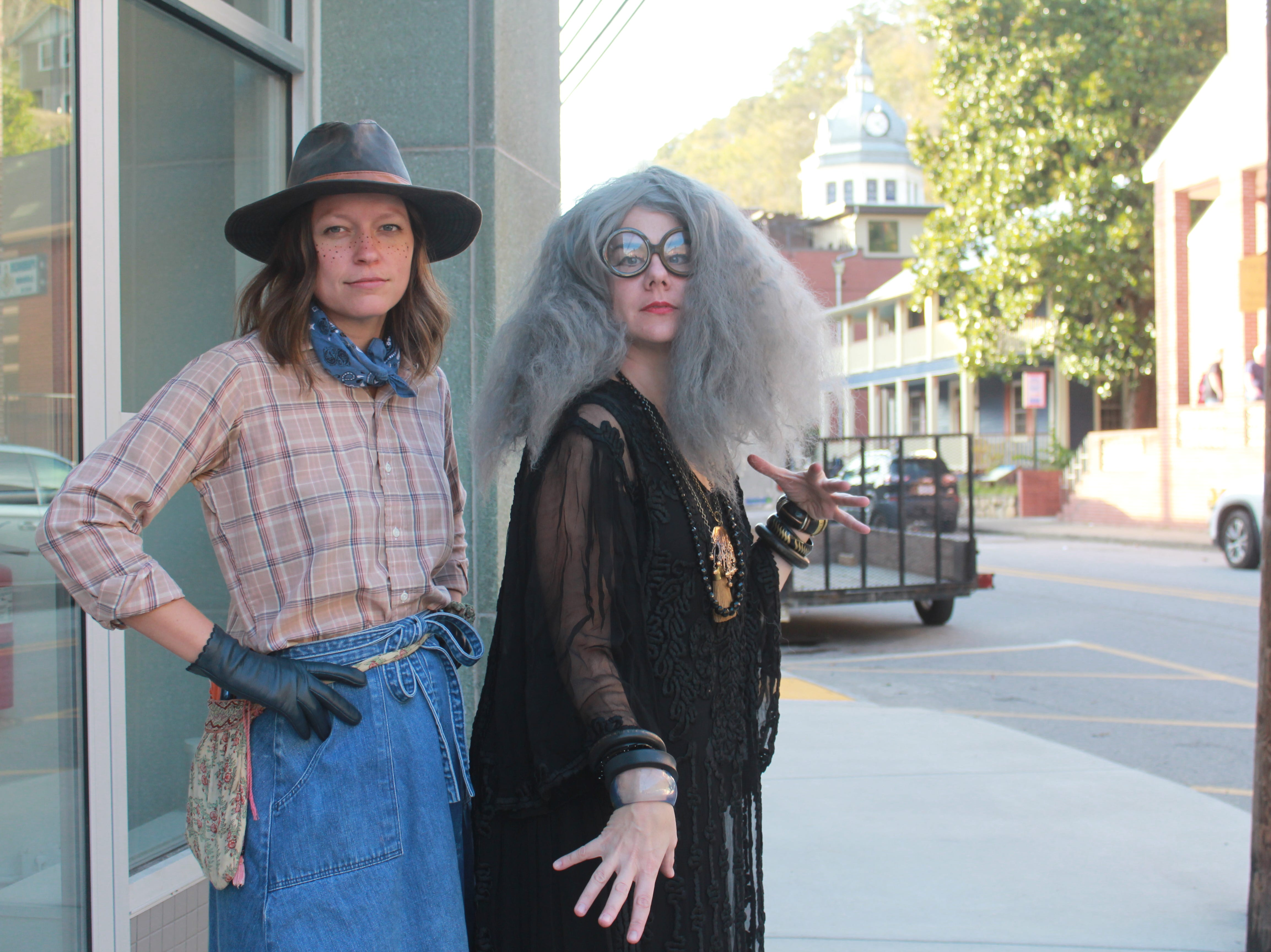 Downtown Marshall business owners Melissa Robinson as Calamity Jane and Angela Finney as a mystical medium