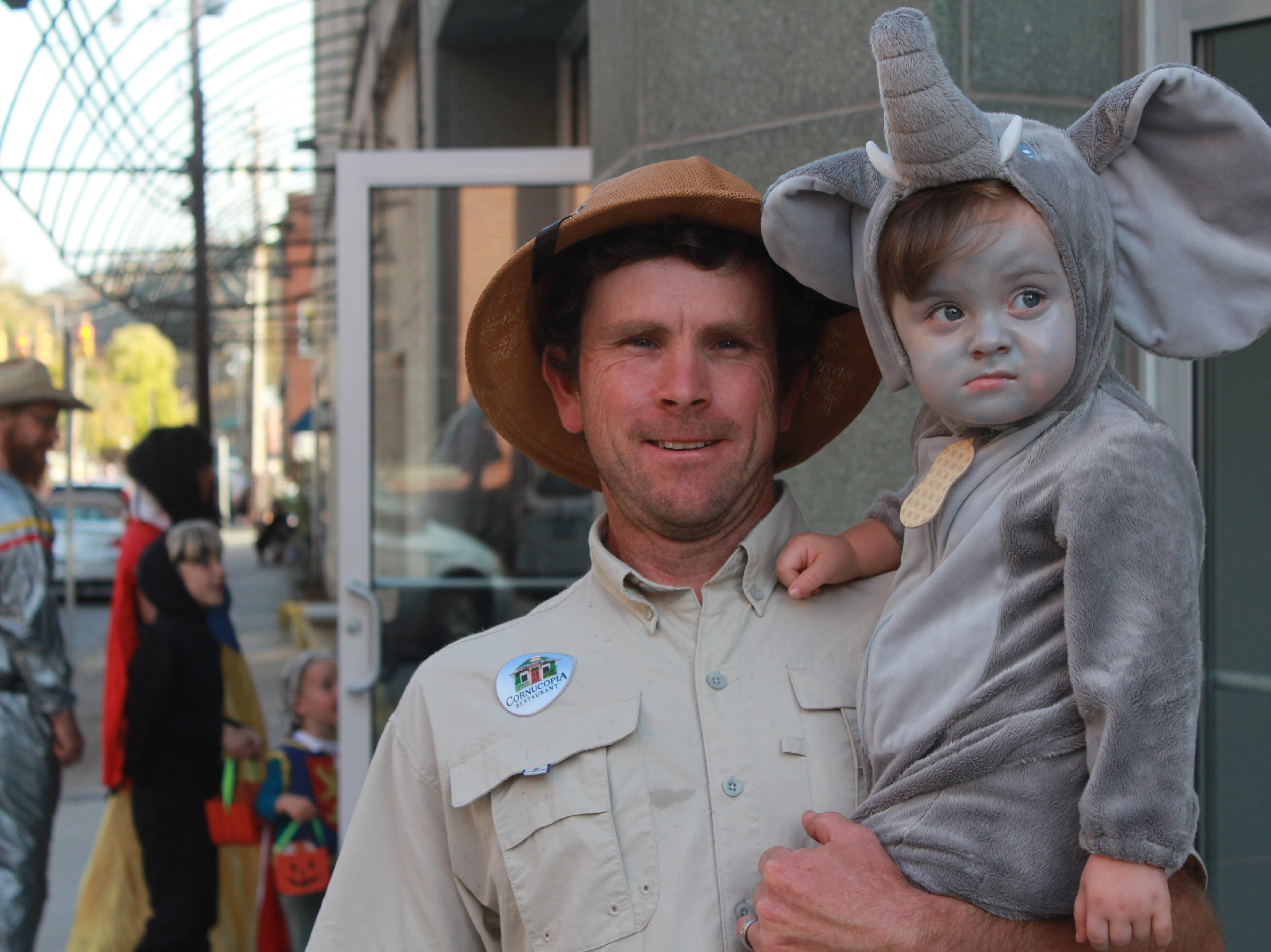 Jeremy and Noah Chandler enjoy a night out as a zookeeper and elephant.