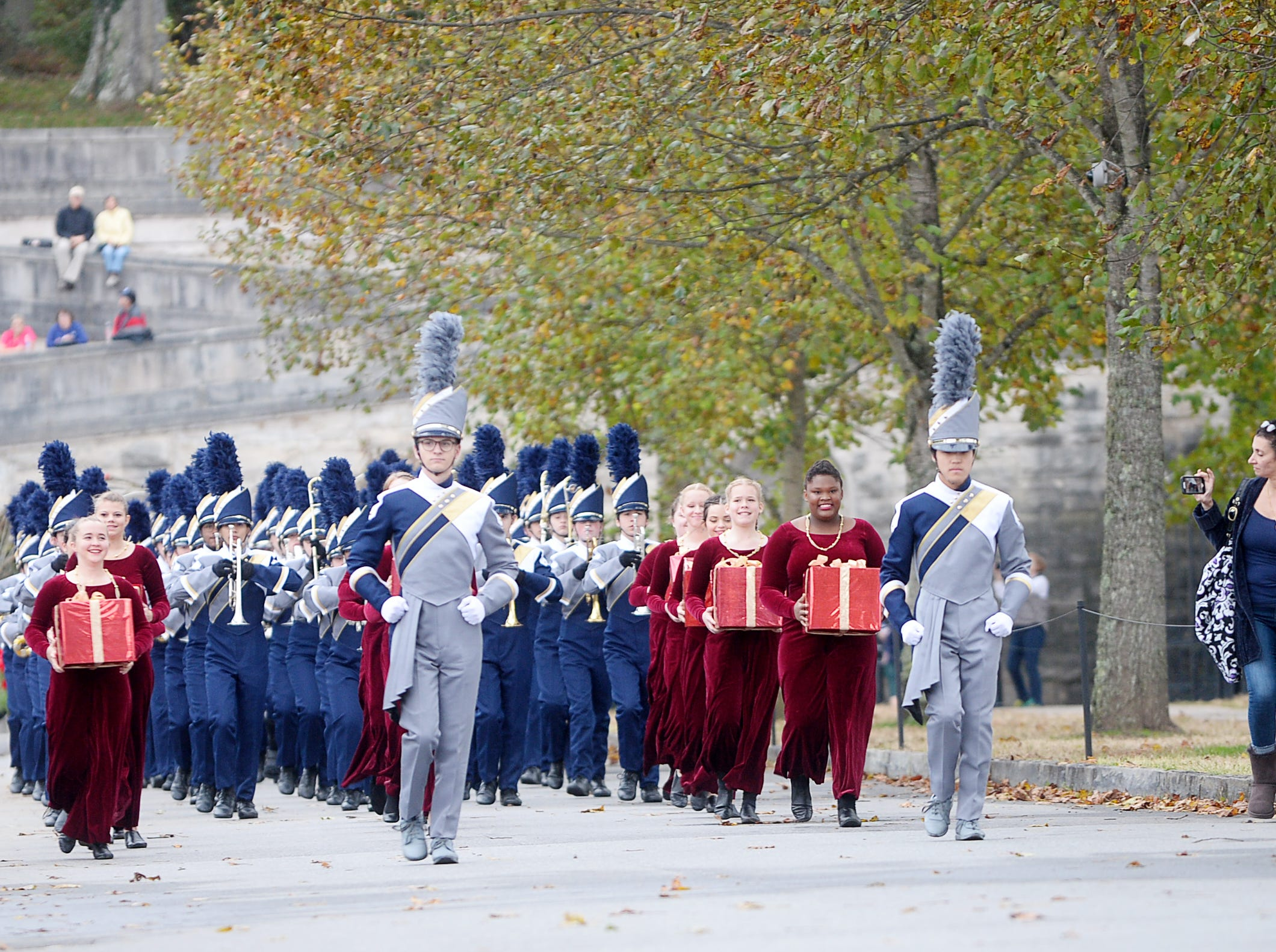 The Roberson Marching Band leads the way for Biltmore's Christmas tree Nov. 1, 2018.
