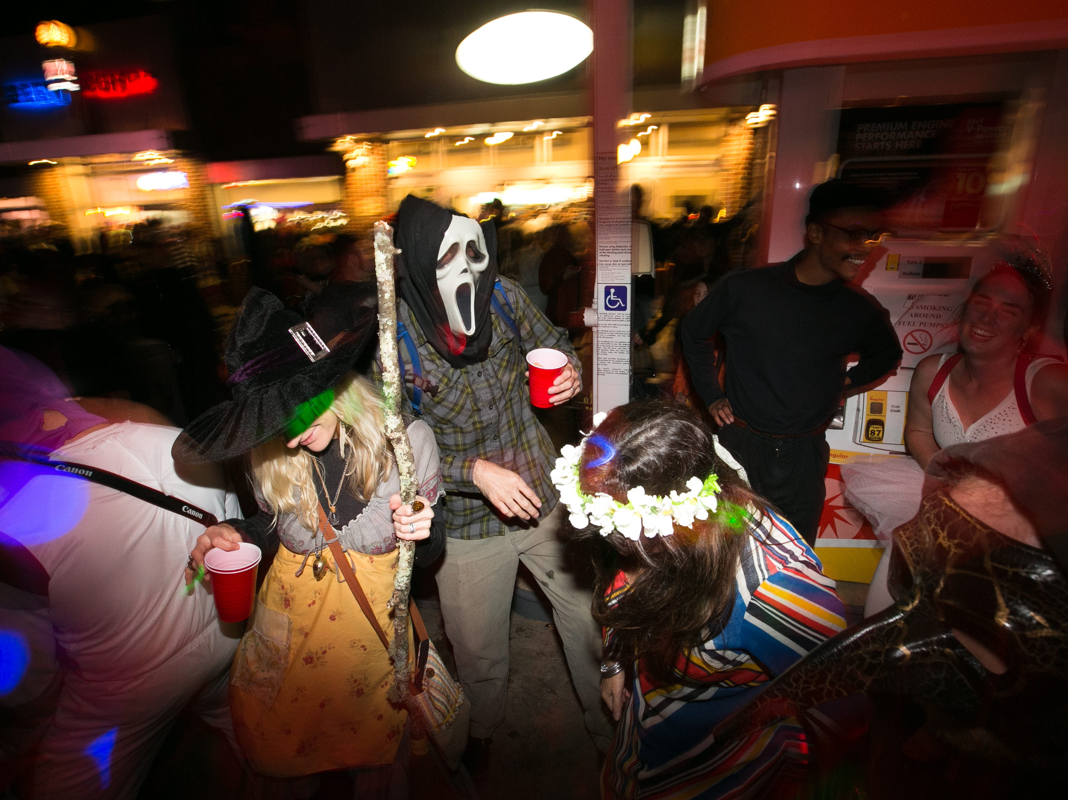 Halloween celebrations at the Brew Pump on Haywood Road in West Asheville on Oct. 31, 2018.