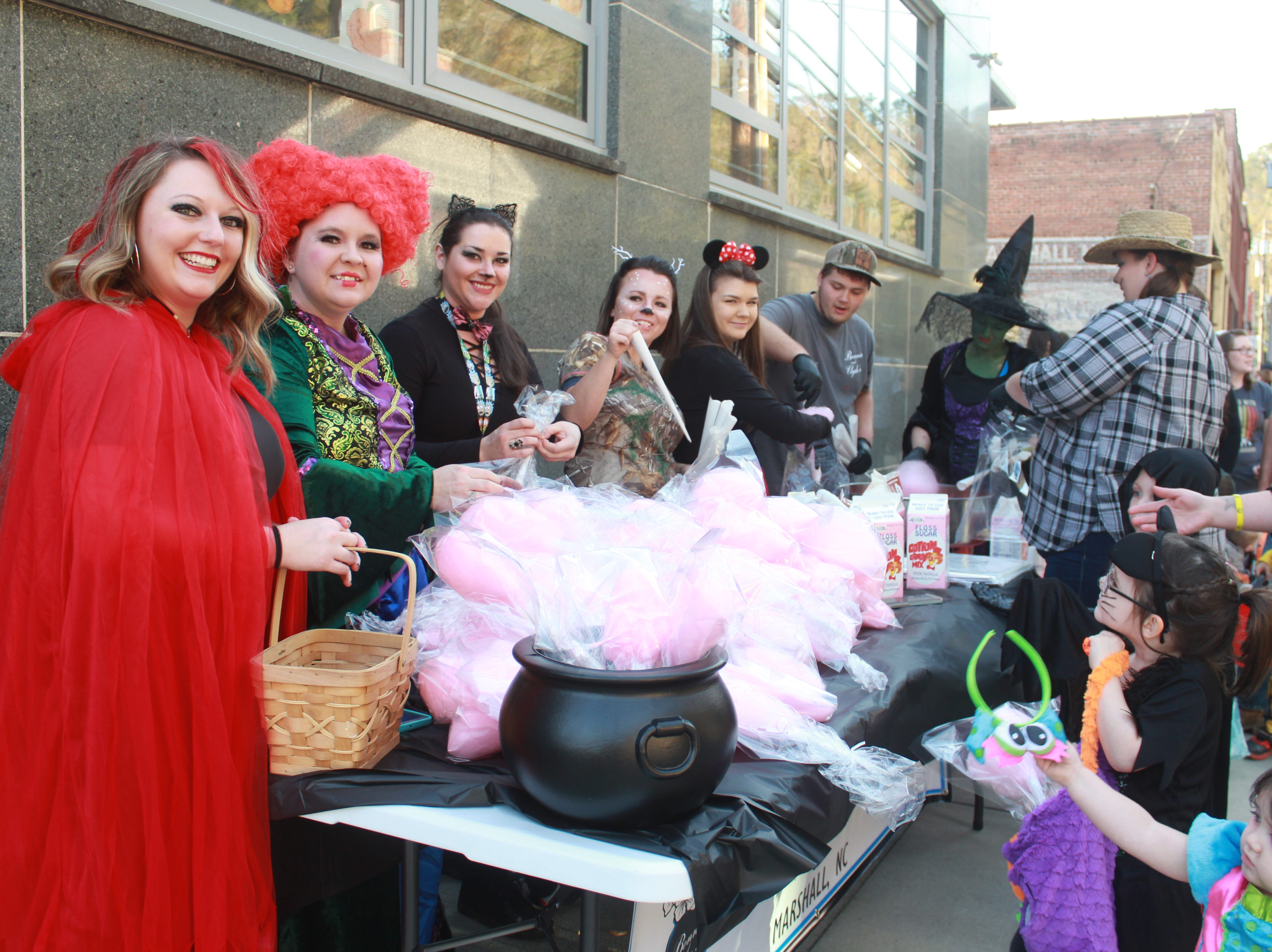 The staff of Marshall restaurant Bonnie & Clyde's and salon Sarah's Cutting Edge proved a popular stop with freshly made cotton candy.