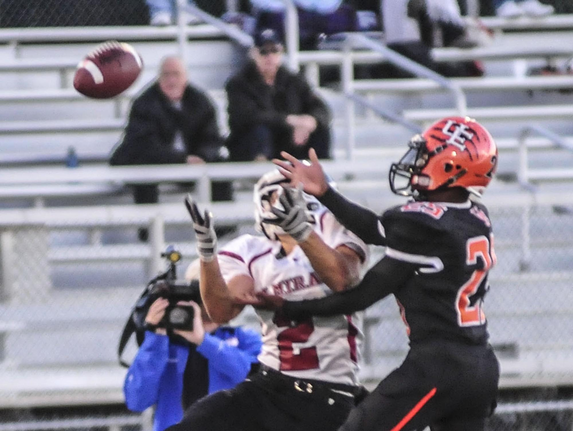 Union-Endicott's Heze Morgan, right, is unable to haul in a pass against Elmira's Jerimiah Brown in a 2013 game at Ty Cobb Stadium.