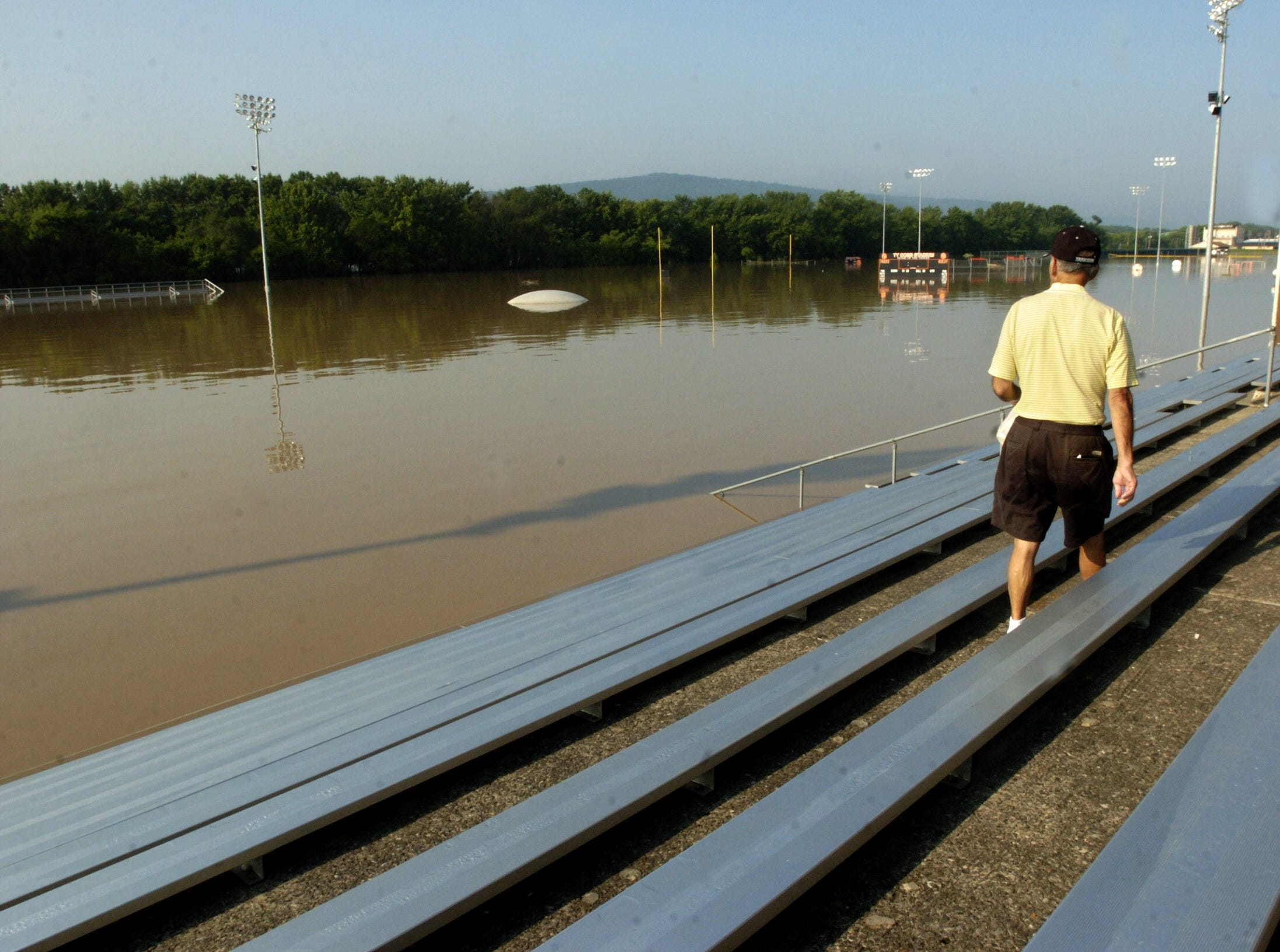 In 2006, about 10 feet of water covers the football field in back of Union-Endicott High School.