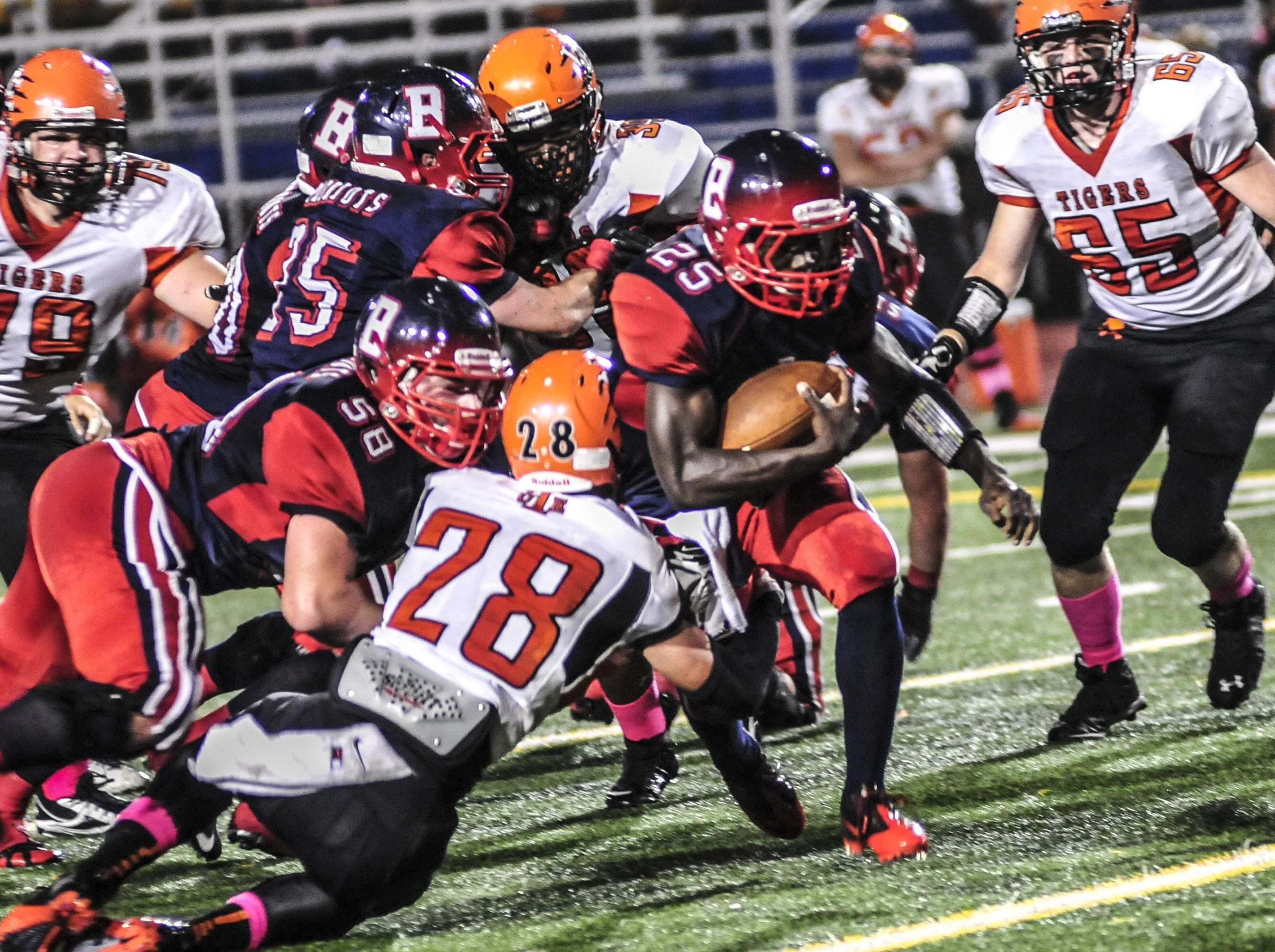 Binghamton running back Amman Weaver gets a first down against Union-Endicott during a 2013 game.