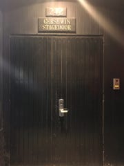 "The stage door for the Gerwshin Theatre, where ""Wicked"" is located."