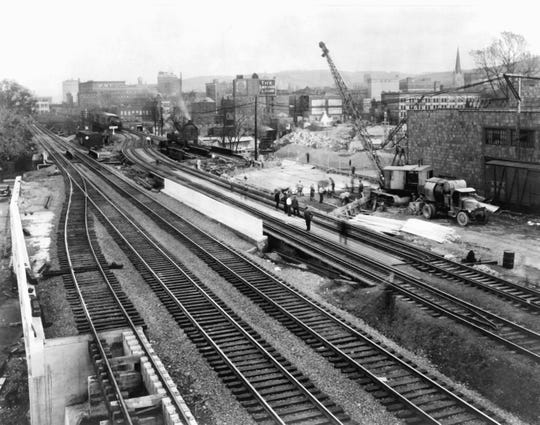 The many railroad tracks running through Binghamton, around 1945.