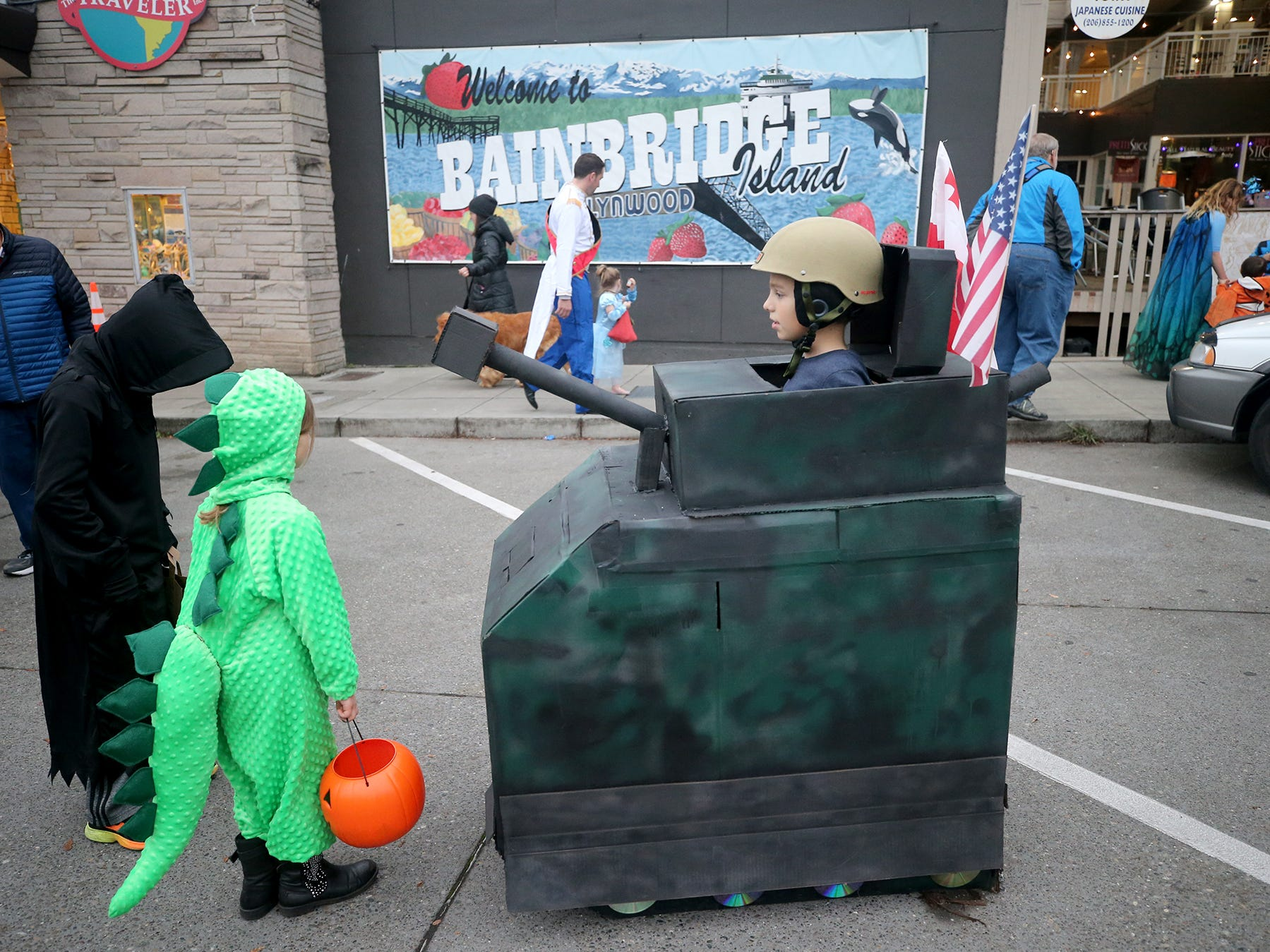 Niko Dvaladze, 10, dressed as a tank for the Bainbridge Island Halloween Walk along Winslow Way on October, 31, 2018.