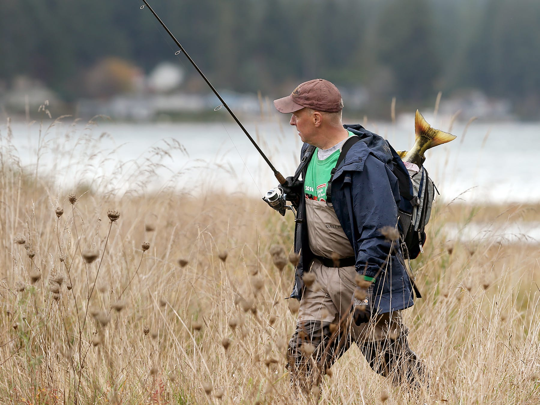 A fisherman has a salmon tail poke out of his backpack as he walks on the trail at the mouth of Chico Creek at Dyes Inlet on Thursday, November, 1, 2018.