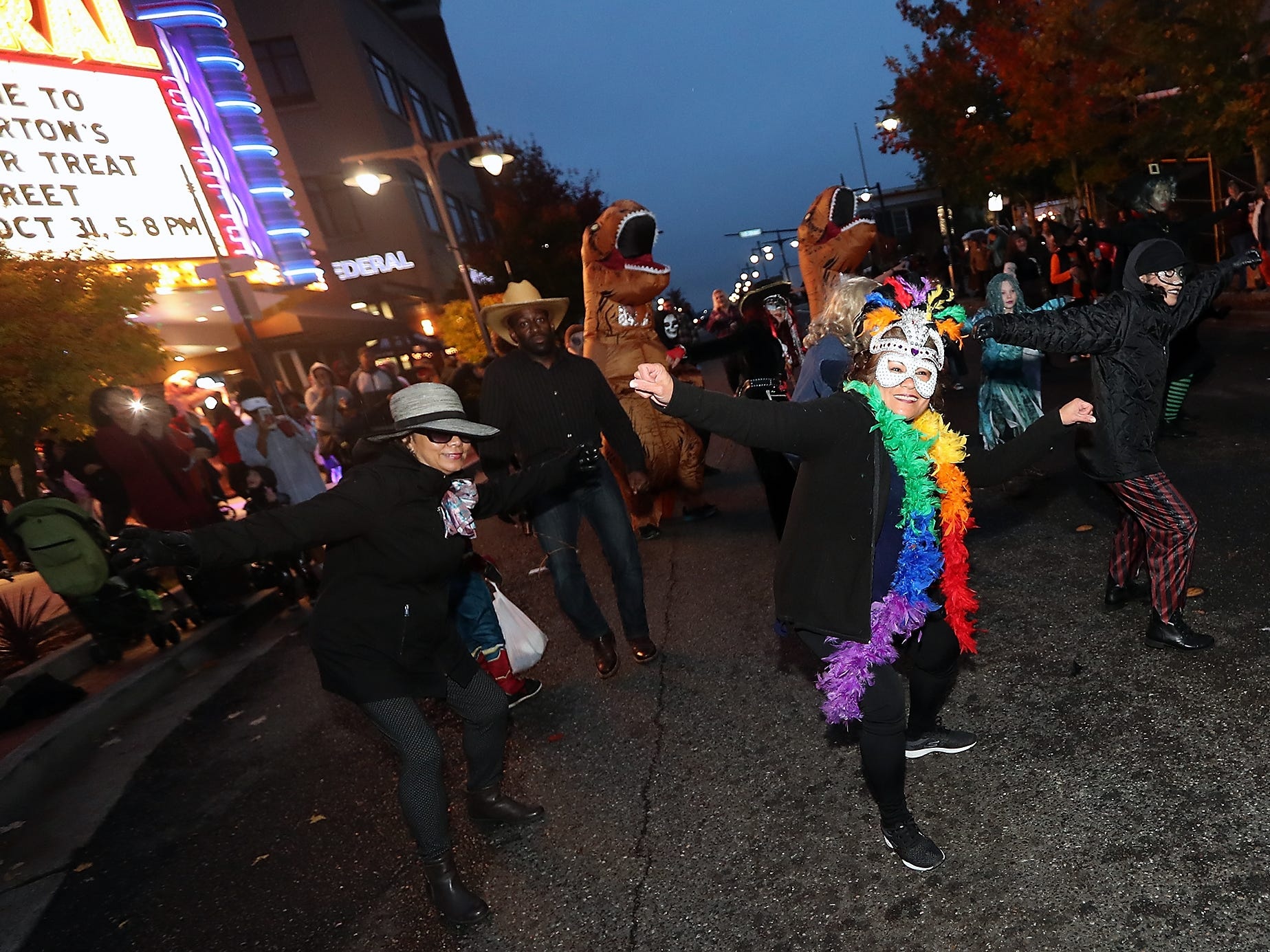 Thriller flash mob dancers perform in front of the Admiral at Downtown Bremerton's Trick or Treat Street on Wednesday, October 31, 2018.
