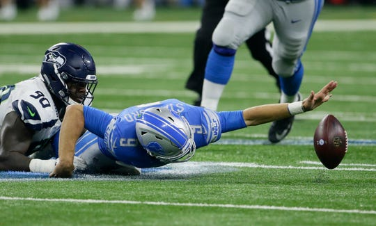 Seahawks defensive tackle Jarran Reed isn't as big of a star as some of the players who have left Seattle, but he's part of a defense that remains among the league's best. Last week, he forced this fumble by Lions quarterback Matthew Stafford.