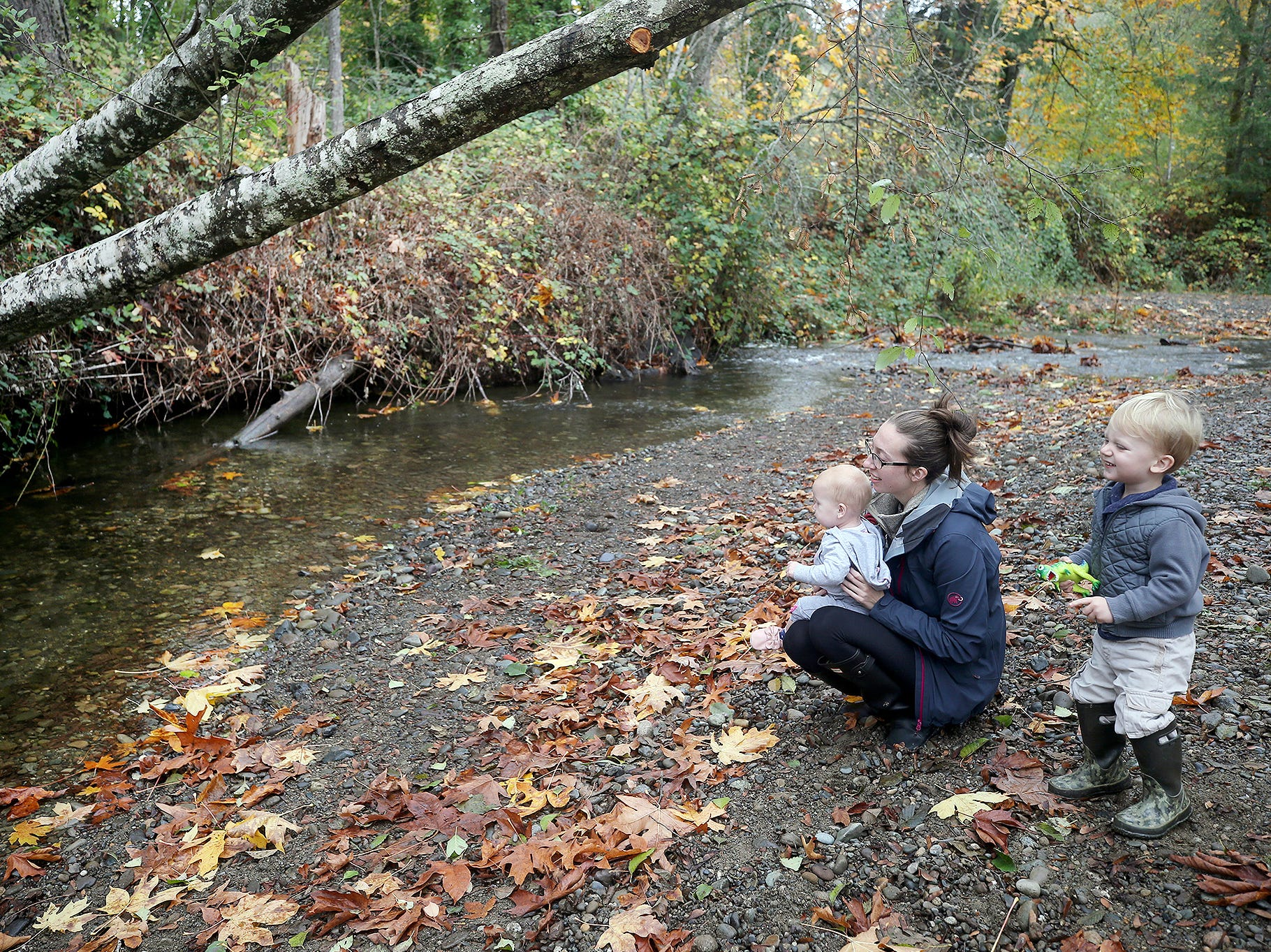 Holly Rogers of Poulsbo watches as the chum salmon swim upstream at the Chico Salmon Park with her sons Riley, 1, and Luke, 2, on Thursday, November, 1, 2018.