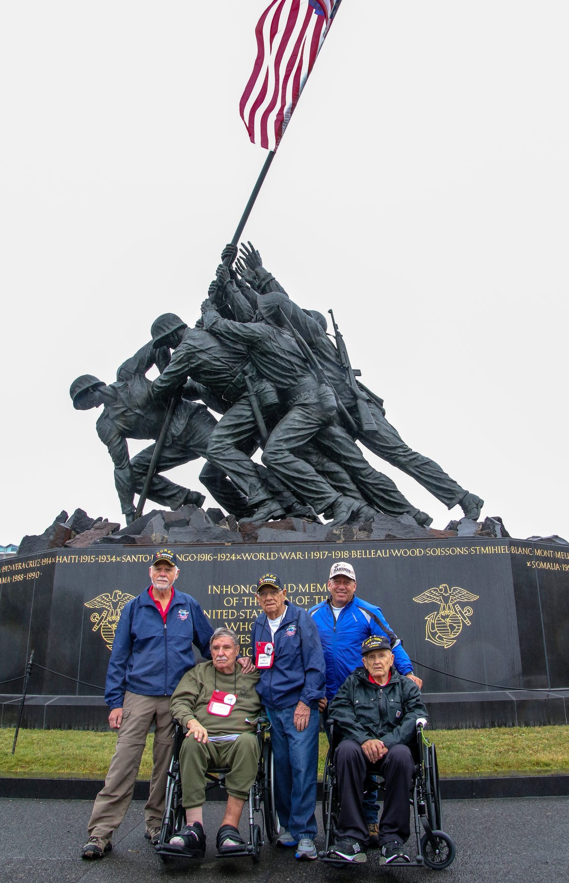 Space Coast Honor Flight veterans pose at the U.S. Marine Corps War Memorial on Oct. 27 in Washington, D.C.
