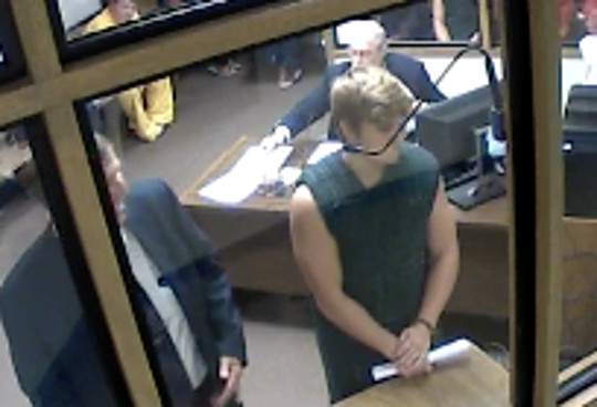Tyler Chapman appears before a judge at the Brevard County jail Thursday morning.