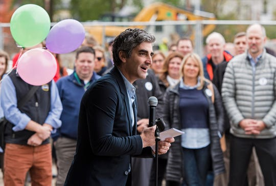 Burlington Mayor Miro Weinberger speaks during a ceremony to celebrate the construction of the Burlington YMCA's new home on College Street in Burlington on Thursday, November 1, 2018.