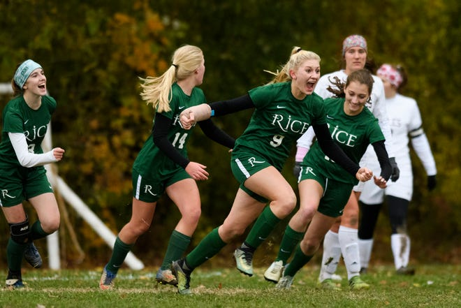 Rice's Alex Dostie (9) celebrates a goal during the girls soccer semifinal game between Mount Abraham Eagles and the Rice Green knights at Rice Memorial High School on Wednesday afternoon October 31, 2018 in South Burlington.
