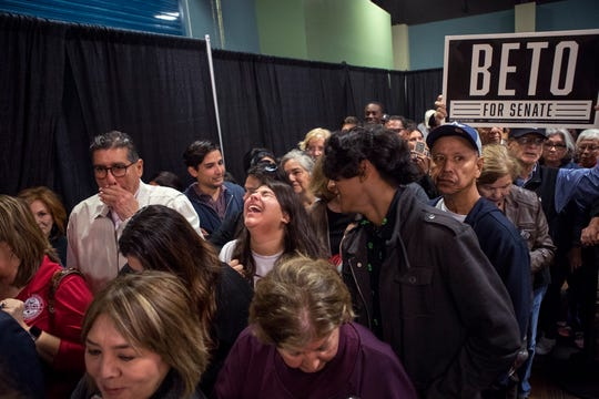 Supporters of democratic candidate Beto O'Rourke, who is running for U.S. Senate against Republican Ted Cruz, line up for photos with O'Rourke at the Richard M. Borchard Regional Fairgrounds in Robstown on Thursday, November 1, 2018.