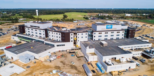 Inspira Health Network's new hospital in Harrison Township will soon be ready for temperature control. An aerial shot of the site shows the hospital's rear view.