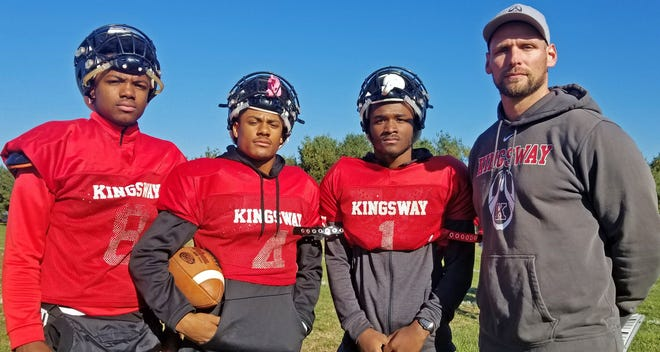 Kingsway players, left to right, Alex Odom, AJ Butler and Semaj Bosket follow coach Mark Hendricks' lead into the South Jersey Group 5 playoffs.