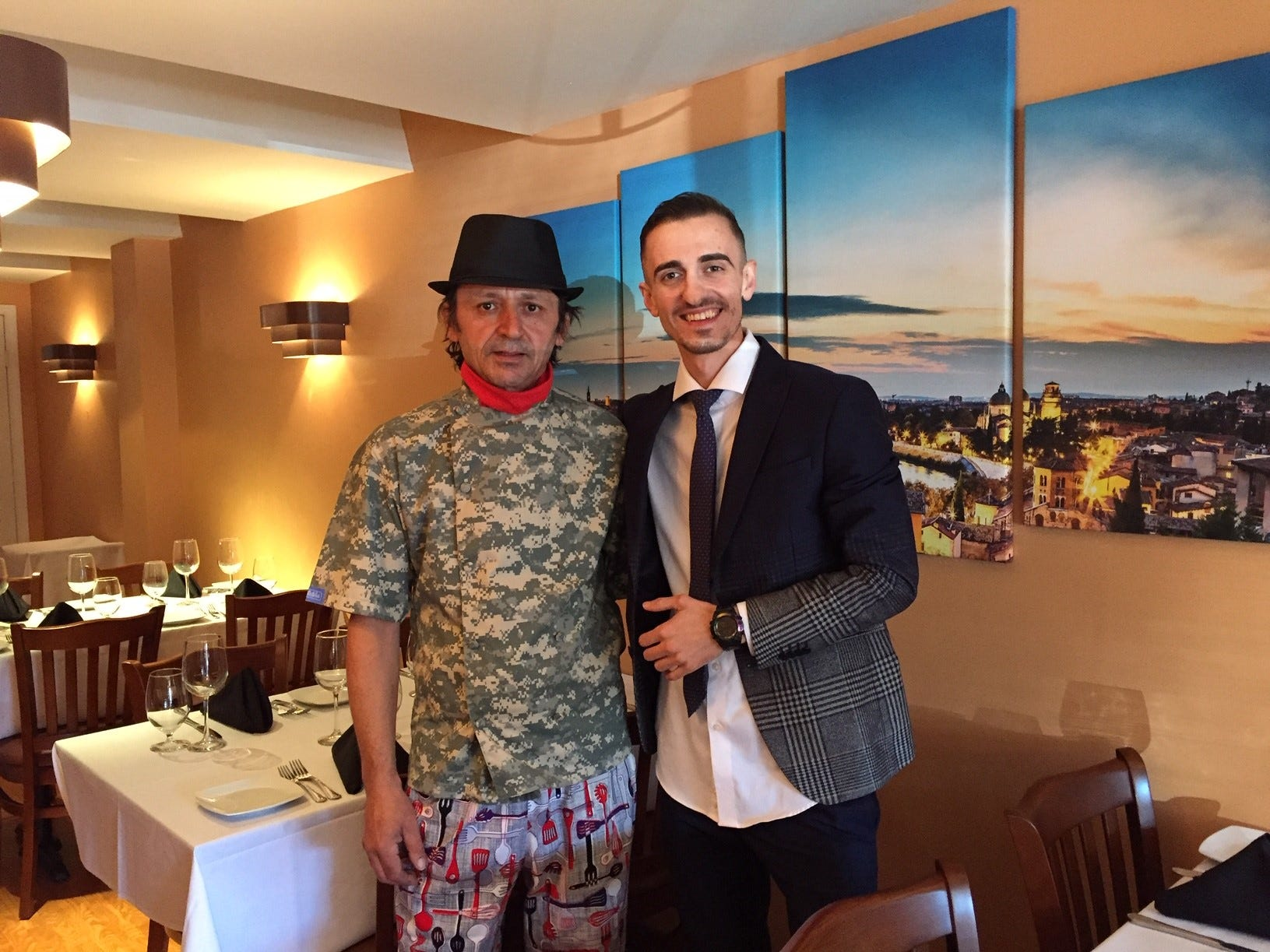 Chef Artur Haxhiu (left) and owner Endrit Bodi stand in the newly refurbished dining room of what is now Verona Ristorante Italiano in Haddonfield.