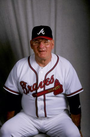 Bill Fischer #75 of the Atlanta Braves at Spring Training in Orlando, Florida, in 1998.