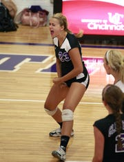 In 2010, Kristina Fultz of Glen Este gets fired up after racking up another kill on the Wilmington defense.  The Lady Trojans of Glen Este put their perfect 3-0 record in the conference on the line against the visiting Hurricanes of Wilmington.