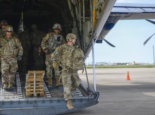 Army engineers arriving in Texas as part of Operation Faithful Patriot.