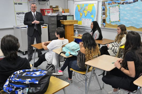 Freeholder Director Ronald G. Rios encourages students to further themselves through education and doing what they love.