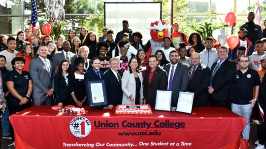 Union County Freeholder Chairman Sergio Granados and Freeholder Angel G. Estrada joined Union County College President Dr. Margaret McMenamin, New Jersey's Secretary of Higher Education Dr. Zakiya Smith Ellis, State Senator Nicholas Scutari, Chairman of the Union County College Board of Trustees Victor Richel, Union County Manager Ed Oatman, alumni and students at the Union County College 85th Anniversary Celebration at the Cranford campus.