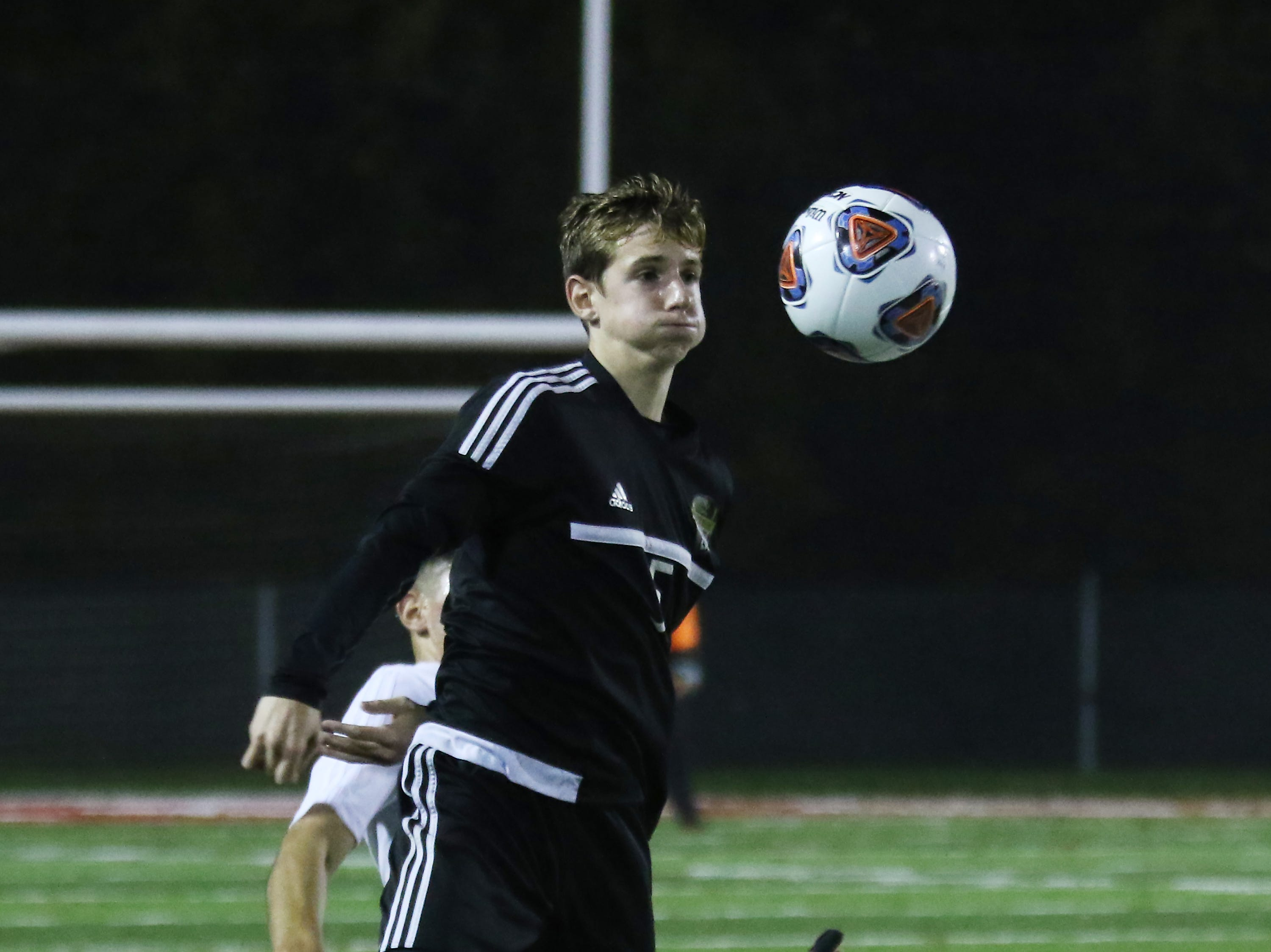 River View's Caleb Shriver controls the ball against DeSales.