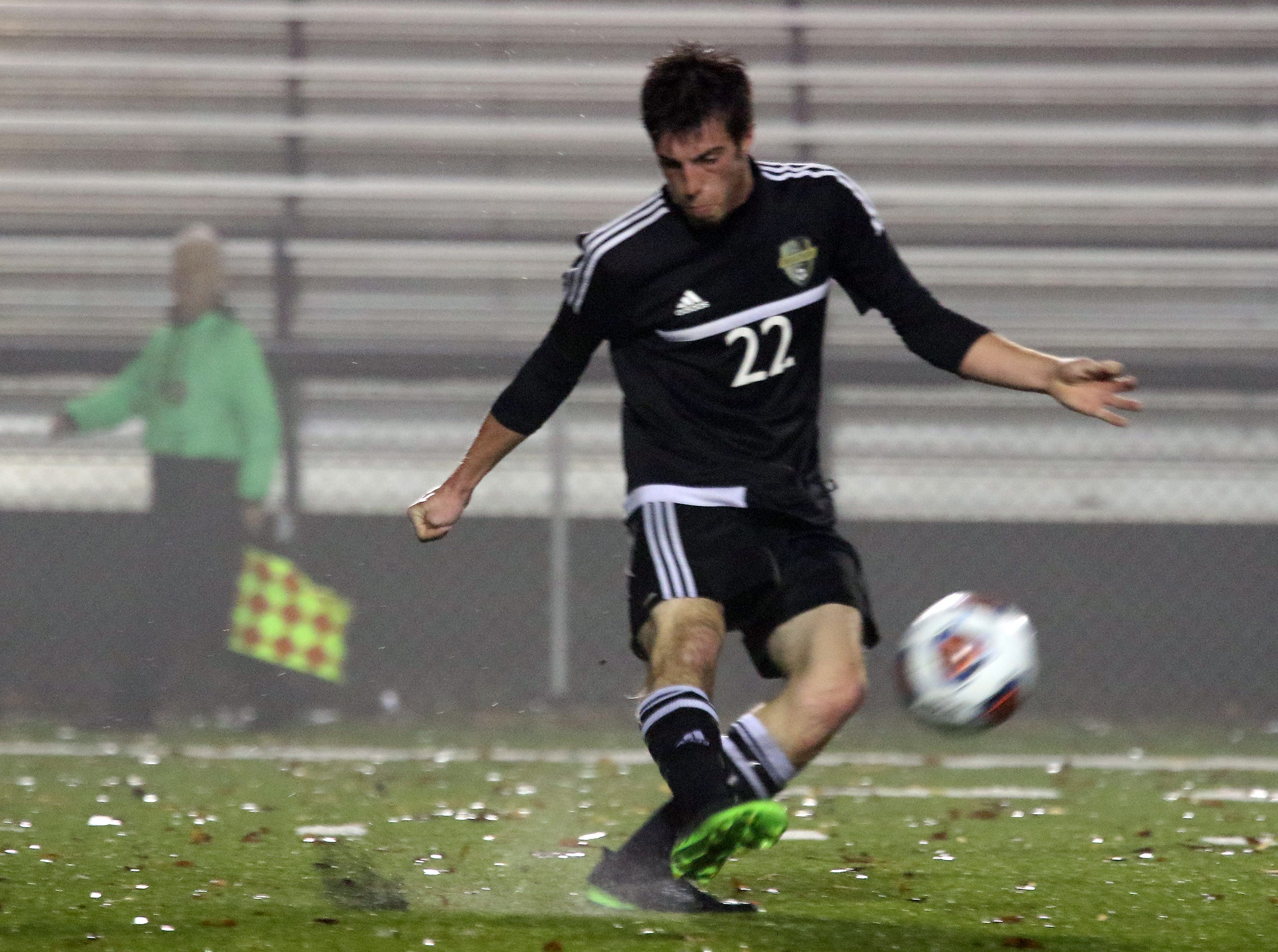 River View's Blake Ashcraft clears the ball against DeSales.