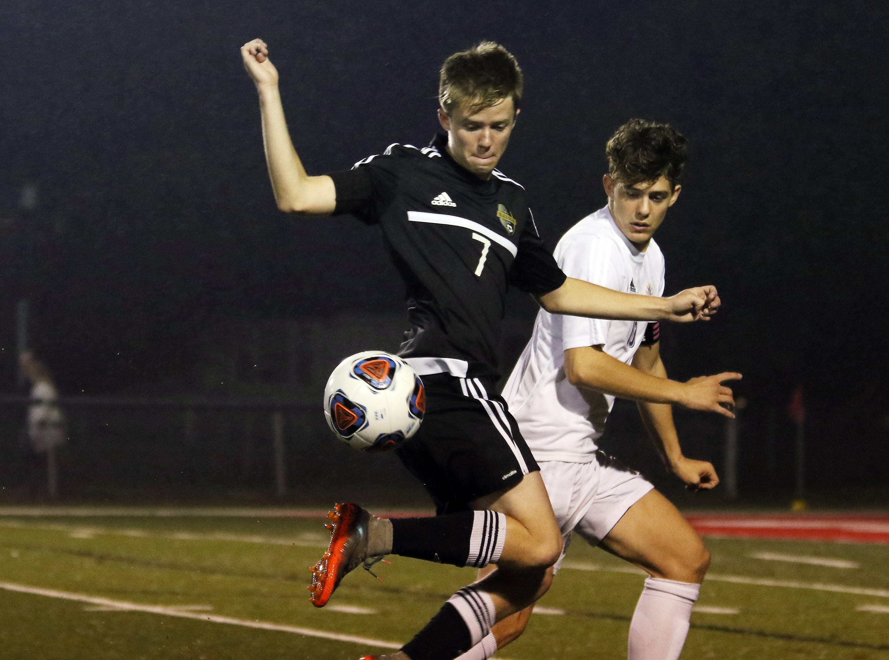 River View's Colt Eaton tries to control the ball against DeSales.
