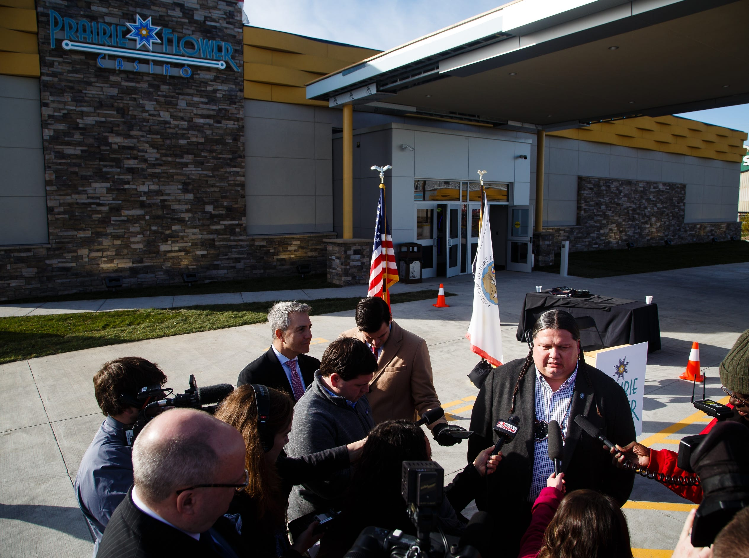 Ponca Chairman Larry Wright Jr. speaks to members of the press during the grand opening of The Ponca Tribe of Nebraska's Prairie Flower Casino on Thursday, Nov. 1, 2018, in Carter Lake.