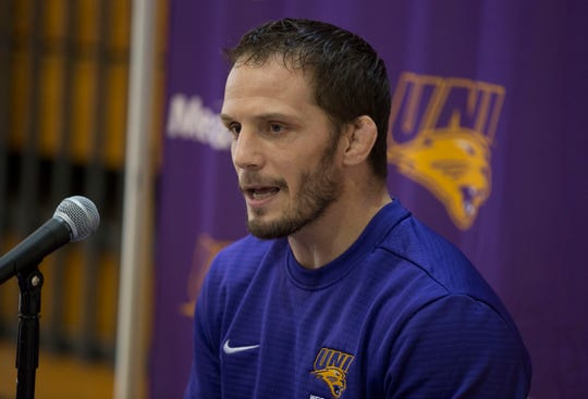 UNI's wrestling head coach Doug Schwab speaks to the media on Wednesday afternoon.