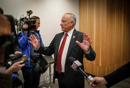 Congressman Steve King speaks to the media before his candidate forum at the Greater Des Moines Partnership office in Des Moines on Thursday, Nov. 1, 2018.