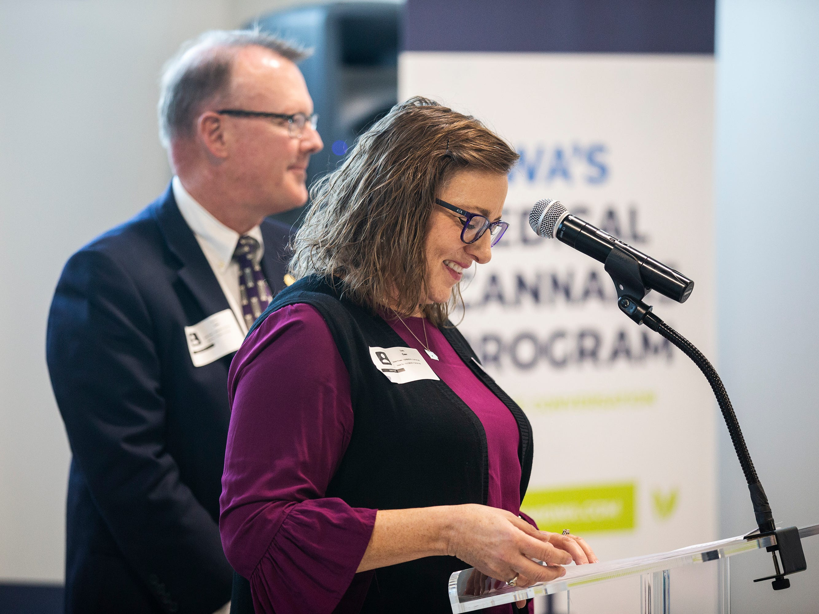 Sally and Steve Gaer, advocates for the use of medical-marijuana, address the crowd during the ribbon cutting of MedPharm Iowa's $10 million medical-marijuana production facility on Thursday, Nov. 1, 2018, in Des Moines.