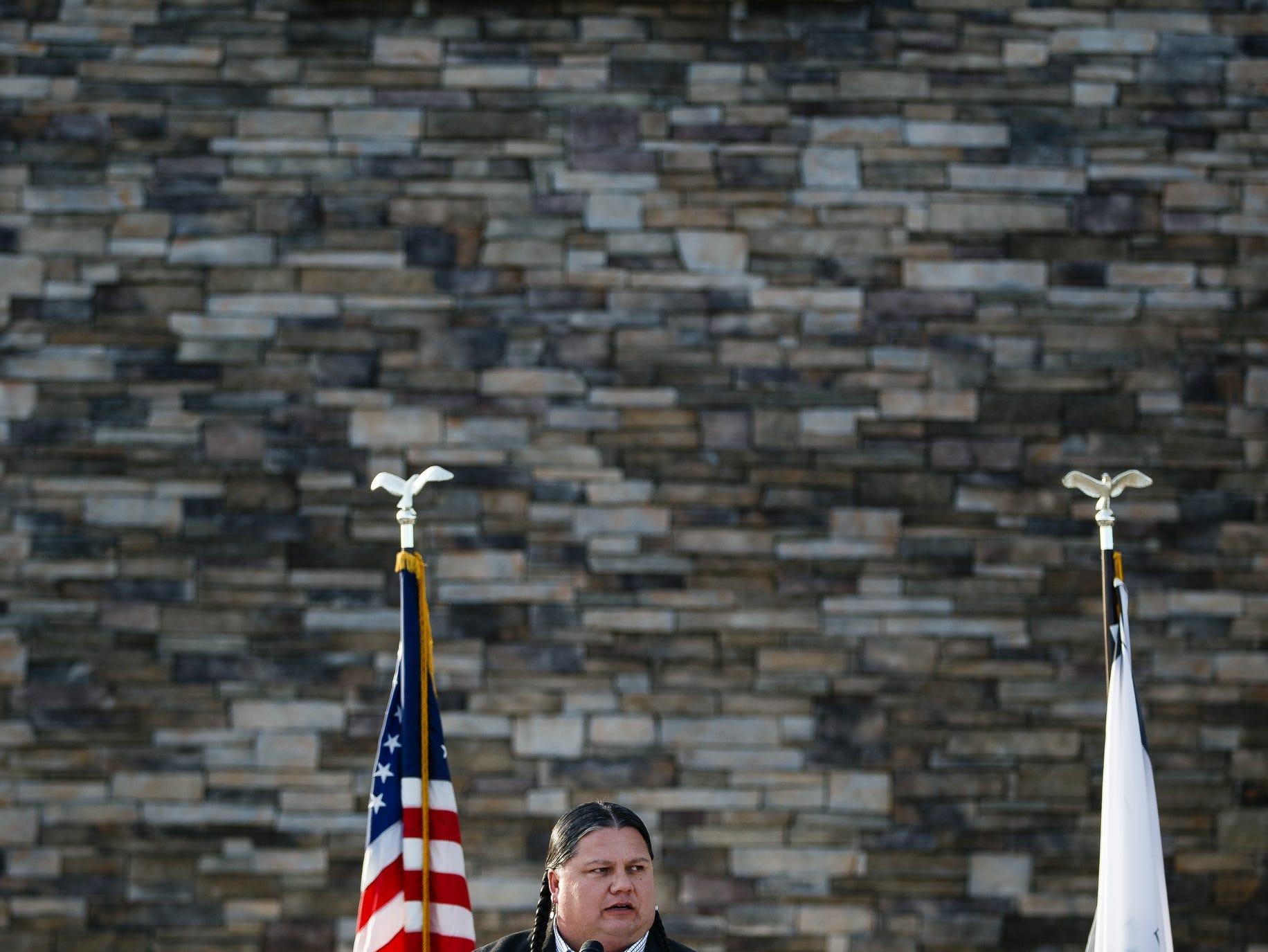 Ponca Chairman Larry Wright Jr. speaks during the grand opening of The Ponca Tribe of Nebraska's Prairie Flower Casino on Thursday, Nov. 1, 2018, in Carter Lake.