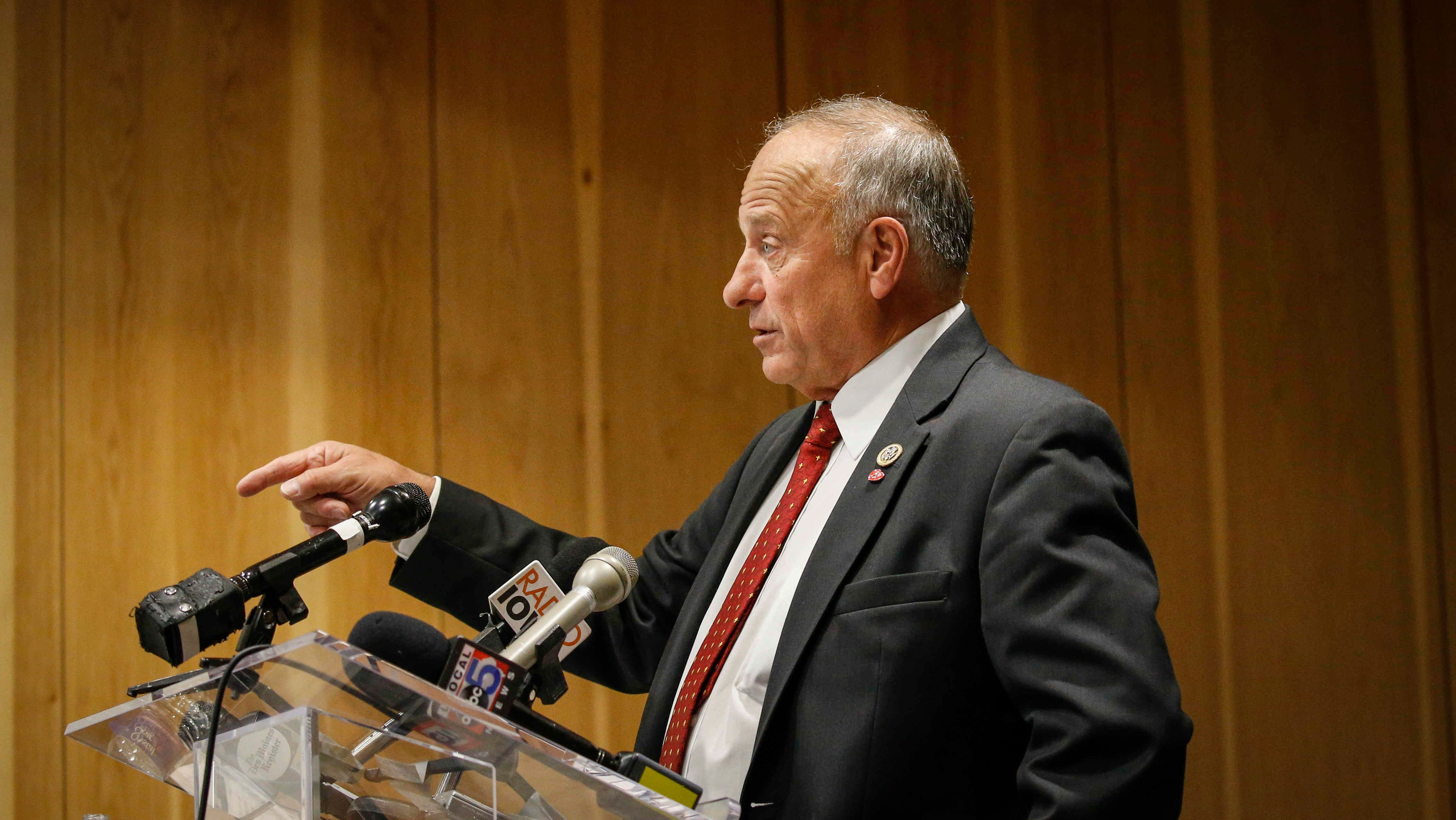 Congressman Steve King speaks during a candidate forum at the Greater Des Moines Partnership office in Des Moines on Thursday, Nov. 1, 2018.