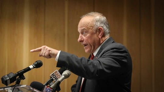 Iowa Congressman Steve King fires back at a man who asked a question about remarks King has made in the past during a candidate forum at the Greater Des Moines Partnership office in Des Moines on Thursday, Nov. 1, 2018.