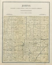 """The township map that shows the likely spot of the farm of Ned Miner, near the number 25, marked by the initials """"N.W."""""""