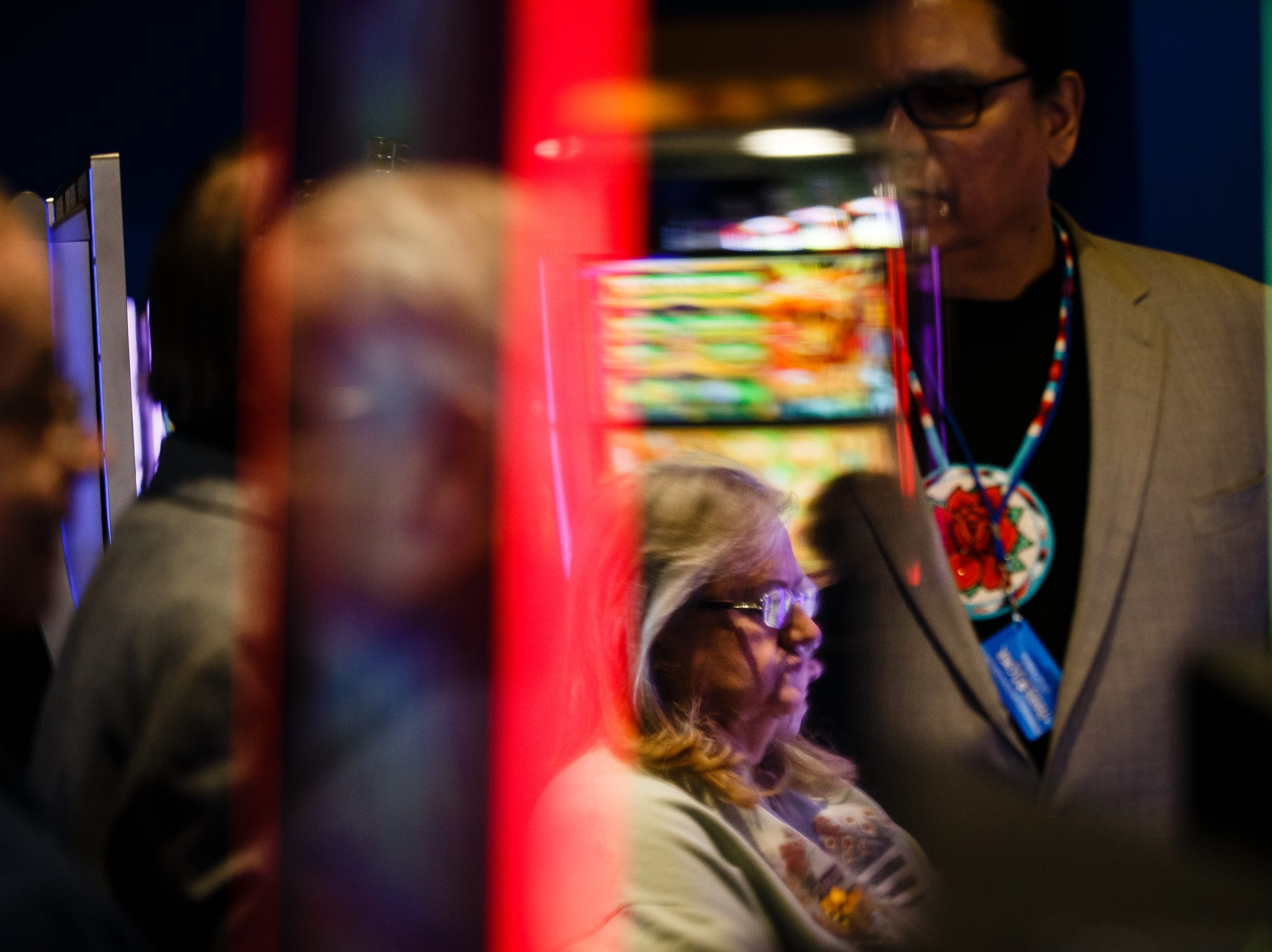 The first vistors gamble during the grand opening of The Ponca Tribe of Nebraska's Prairie Flower Casino on Thursday, Nov. 1, 2018, in Carter Lake. Both Iowa and Nebraska officials have tried to block the casino in federal court Ð Iowa because of competition with other Iowa casinos and Nebraska because the casino sits just miles away from Omaha where gambling is illegal.