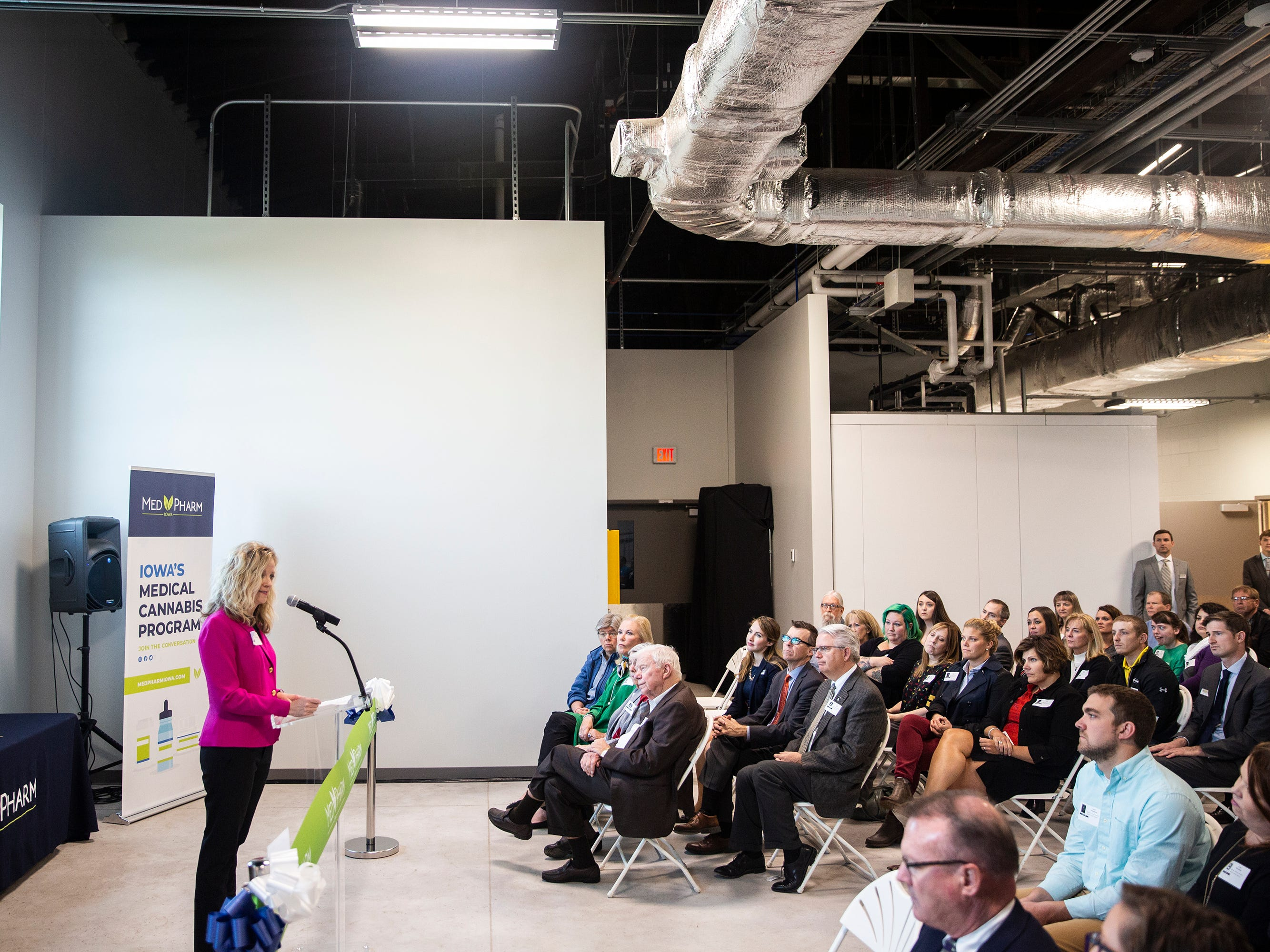 State Sen. Janet Petersen, D-Des Moines, addresses the crowd during the ribbon cutting of MedPharm Iowa's $10 million medical-marijuana production facility on Thursday, Nov. 1, 2018, in Des Moines.