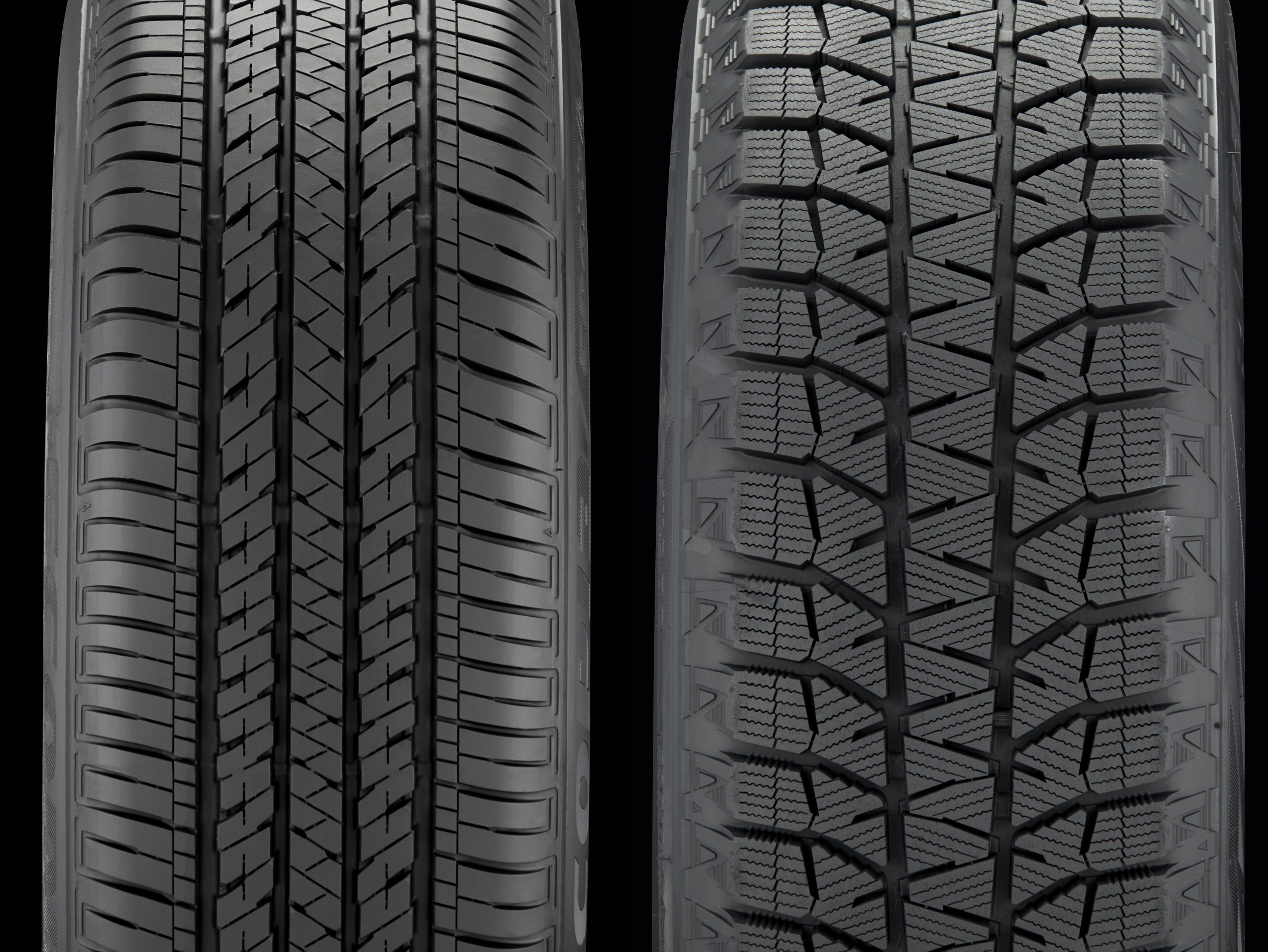 Bridgestone standard tire Ecopia EP422, left, and snow tire Blizzak Ws80, right.