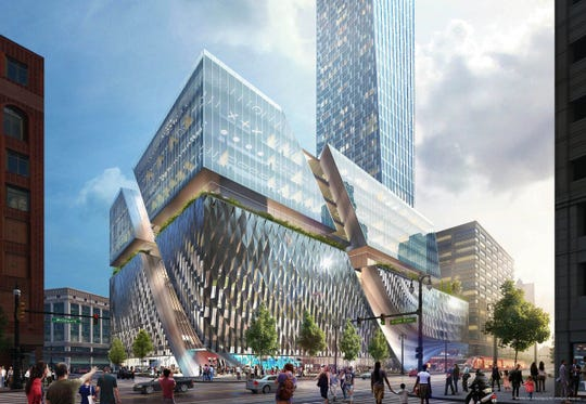 The original rendering of the Hudson's site project included dramatic features no longer part of the final design.