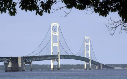 In this July 19, 2002 file photo, the Mackinac Bridge is shown from Mackinaw City, Mich.