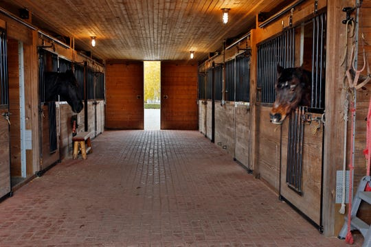The owner built this 8-stall horse barn, which has a pine ceiling and a brick floor. From left are retired carriage horses Deuthue Dai, 10, from Wales, and Salesman Joe,35, from the Netherlands.