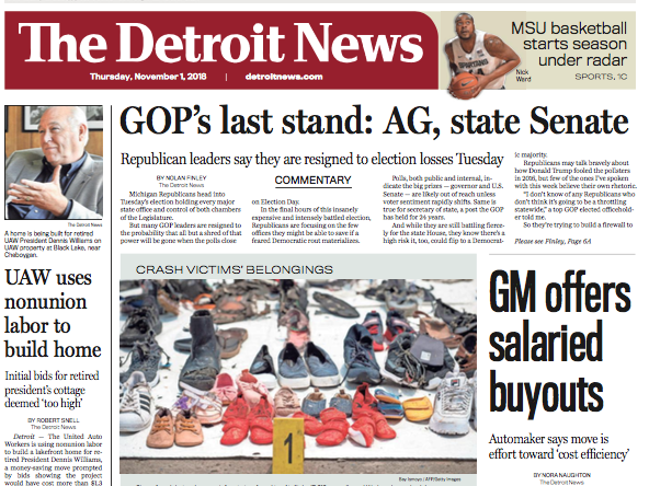 The front page of The Detroit News on Thursday, November 1, 2018.