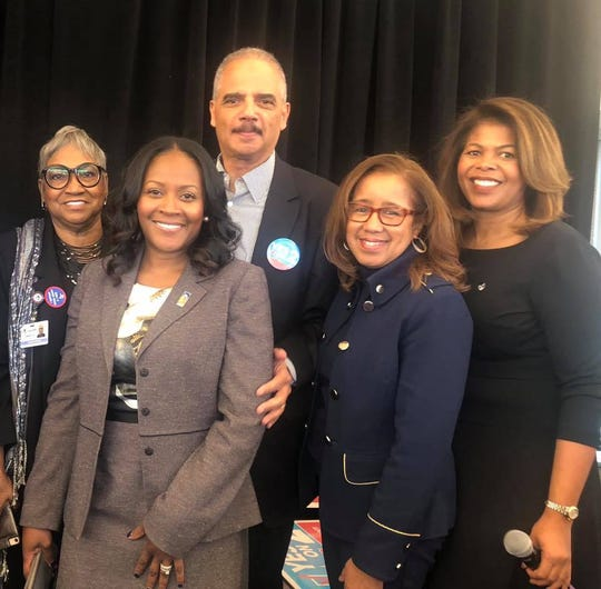Vern Davis Anthony, from left, Linda Little, Eric Holder, Sheilah Clay and Portia Roberson.