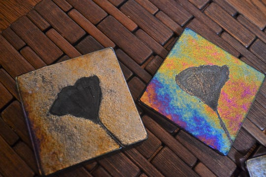 Leaves from a ginko tree at Spiegel Grove were used to create these iridescent coasters.